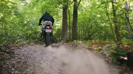borowina : Steadicam shot a rider in protective gear on a motorcycle off-road modification, famously passing through a dense forest with natural jumps. The concept of active recreation