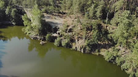 montanhas rochosas : Aerial view of a rocky cliff on the edge of a high mountain lake with coniferous forest and a tourist tent on the shore Stock Footage