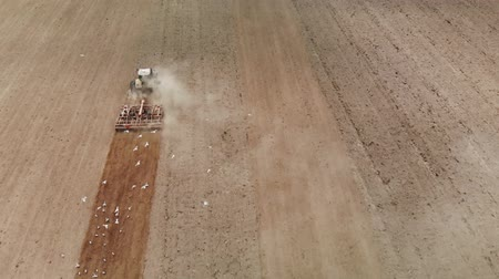 solo : Aerial view of strong power tractor large hook effort that produces a combined treatment of soil before sowing of crops