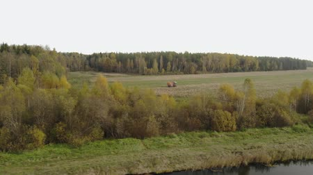 шелуха : Aerial view from behind the bushes of a self-propelled harvester with a Reaper, harvesting a crop of dry corn in the body of the vehicle in the autumn period of the year. The concept of agribusiness