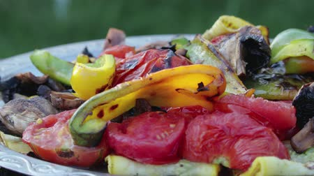 grillowanie : Close-up of appetizing grilled vegetables: peppers, tomatoes, mushrooms, zucchini, stacked in a chrome tray with a pattern on the street. The concept of a picnic in the fresh air