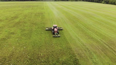 gramado : Aerial view of a farmer on a red tractor with a combined mounted mower with disc rotary knives, producing mowing grass on silage for livestock feed. The concept of agribusiness Stock Footage