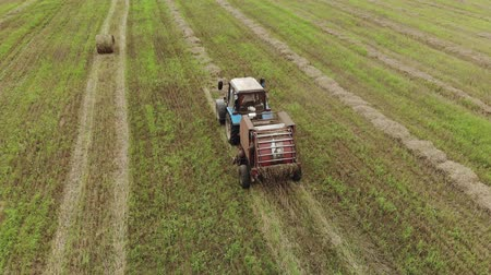 vybírání : Aerial view of a tractor with a trailer baler, producing the pressing of straw rolls on a harvested agricultural field. The concept of agribusiness