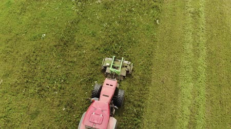 hay harvest : Aerial view of a farmer on a red tractor with a combined mounted mower with disc rotary knives, producing mowing grass on silage for livestock feed. The concept of agribusiness Stock Footage