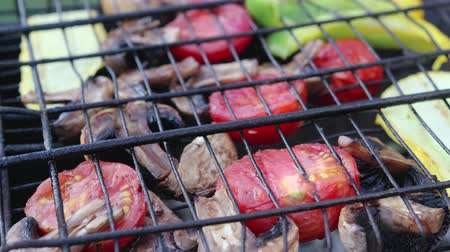 grillowanie : Fried vegetable and mushroom kebabs in a herbal marinade fried on coals in the grill, top view. The concept of cooking in an open space