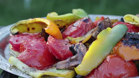 диеты : Grilled delicious, colorful vegetable salad of tomatoes, eggplant, pepper and other products lies on an ancient plate