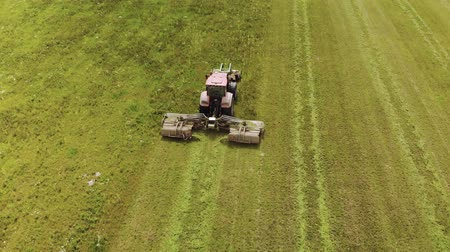 hay mowing : Aerial view of a farmer on a red tractor with a combined mounted mower with disc rotary knives, producing mowing grass on silage for livestock feed. The concept of agribusiness Stock Footage