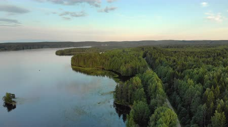 köknar ağacı : The magnificent landscape of the Northern nature. Coastal zone of lake Onega near dense coniferous forest with a country road in Karelia. Aerial view
