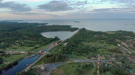 クルーズ : Povenets, Republic of Karelia, on 25 JUNE 2019. Aerial view of the beginning of the white sea-Baltic canal near lake Onega near the village of Povenets