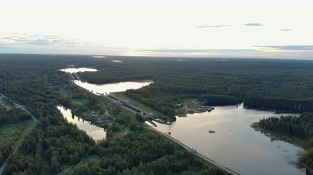 porta de entrada : Povenets, Republic of Karelia, on 25 JUNE 2019. Aerial view of the locks of the white sea-Baltic canal near lake Onega near the village of Povenets