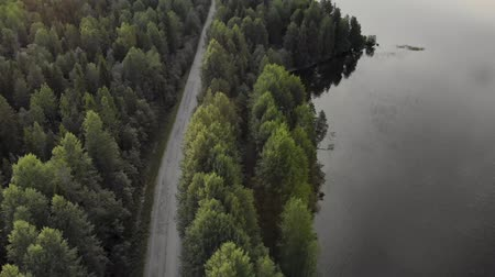 plateau : Beautiful panorama over the tops of the green, old forest in the midst of which is located the highway. The trees are reflected in a large lake. Landscape of untouched nature. The picture was taken by helicopter. The view from the top