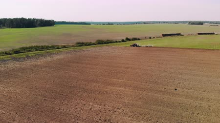 plowed land : Aerial: farmer on a red tractor processing farmland with a plow on the background of a picturesque summer landscape with an irrigation ditch. Concept of agribusiness