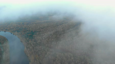 coordinare : Aerial: flying through a haze of clouds to a stunning autumn landscape with a winding river surrounded by a forest with colorful tree crowns. Circular motion of the drone Filmati Stock