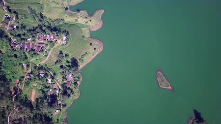 хранилище : Aerial shot of river and tea plantations in Sri Lanka Стоковые видеозаписи
