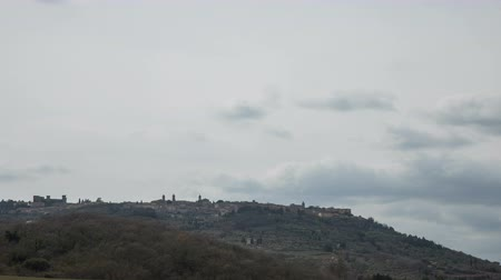 toszkána : March 28, 2018, Montalcino, Italy. View of the city of Montalcino. Italy. Stock mozgókép