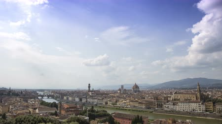 arno : Florence, panorama from Piazzale Michelangelo. Time lapse of Florence from above. 4k.