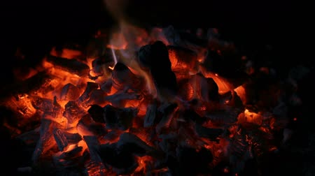 firebox : Coal embers. Fire with charcoal. Brace for the barbecue. Stock Footage