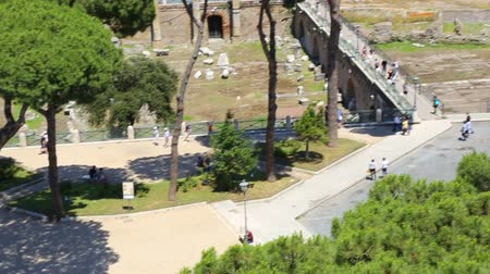 imparator : Via dei Fori Imperiali seen from the Vittoriano. Rome, Italy. The Imperial street. Stok Video