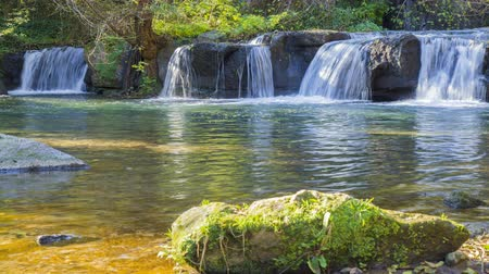 purê : 4k timelapse of the Monte Gelato waterfalls located on the Treja river in Lazio. Italy. Vídeos