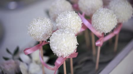 pralina : Serving of wedding table. Candy coconut flakes on a skewer at the wedding table close up.