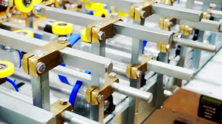 rulli : New empty roller conveyor in a factory. close-up. shallow depth of field.
