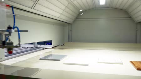 aerografo : furniture manufacturing and woodworking.spray booth.demonstration of working equipment.automatic nozzles move inside an empty chamber, simulating the process of painting parts.