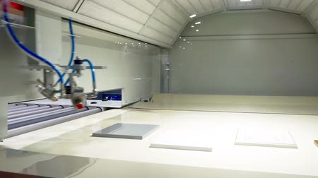 snijmachine : furniture manufacturing and woodworking.spray booth.demonstration of working equipment.automatic nozzles move inside an empty chamber, simulating the process of painting parts Stockvideo