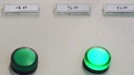 индикатор : control panel.Close-up view of a buttons on an industrial control panel of an electric machine Стоковые видеозаписи