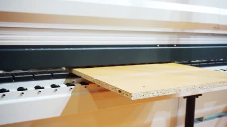 処理された : manufacturing industry.modern woodworking machine with digital control.technological process.conveyor along which the blank moves the furniture panel.fragment of working elements and parts close-up