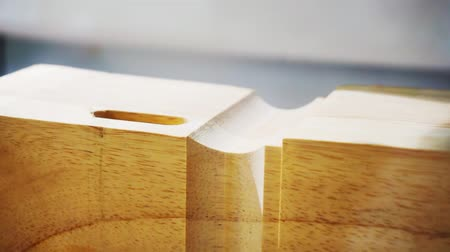 lumber : Woodworking and furniture manufacturing.technological process.cnc router processes wood part with cutter.close-up.shallow depth of field.