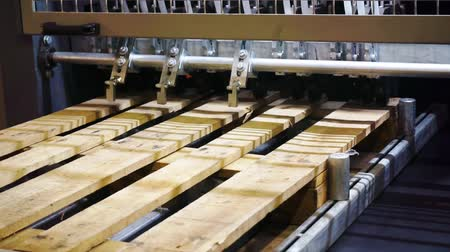 処理された : manufacturing industry.woodworking.fragment modern working special machine that produces wooden pallets.