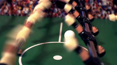 fotbalista : foosball.small plastic players in the table soccer.game kicker close up.Shallow depth of field.