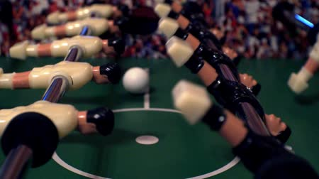 piłkarz : foosball.small plastic figures of players in table soccer.game kicker.close-up.shallow depth of field. Wideo