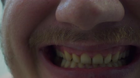 fury : mouth of an adult man.close-up Stock Footage