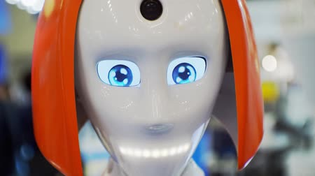android : Head of a cute robot woman similar to a man close-up.