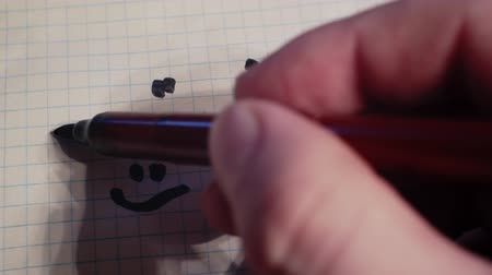 kartka papieru : male hand drawing unhappy and happy smileys faces