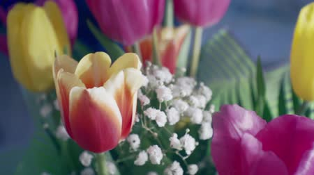 bouquet of flowers close-up.festive moving background Stock Footage