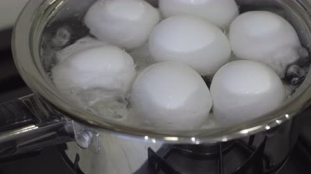 Boiling eggs in the kitchen