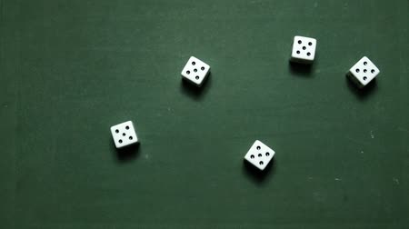 Poker Dice rolling poker five-of-a-kind on fives Стоковые видеозаписи
