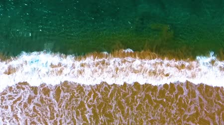 hikkaduwa : Narrow beach line, waves and ocean. Aerial view. Stock Footage
