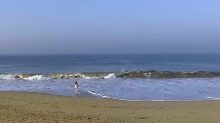 hikkaduwa : Slow motion aerial shot the girl is standing opposite the ocean wave