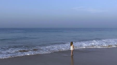 hikkaduwa : Slow motion aerial shot the girl is walking along the beach in the morning with ocean waves Stock Footage