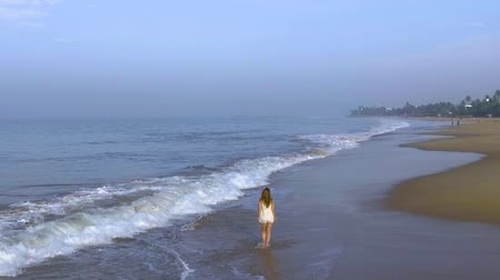 hikkaduwa : Slow motion aerial shot the girl is walking on the ocean beach in tropics Stock Footage