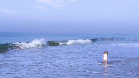 hikkaduwa : Slow motion aerial shot the girl is walking on the ocean beach