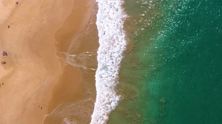 hikkaduwa : Slow motion aerial shot Aerial view of waves crashing onto the shore Stock Footage