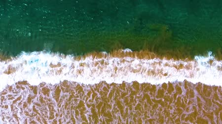 Канкун : Slow motion aerial shot Narrow beach line, waves and ocean. Стоковые видеозаписи