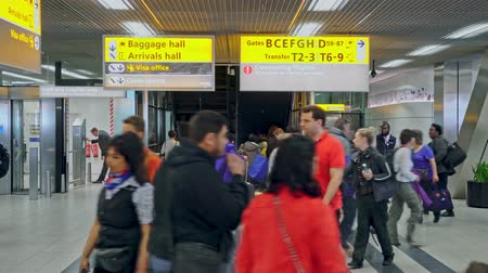 estaleiro : Passengers walking to the baggage hall and passport check Stock Footage