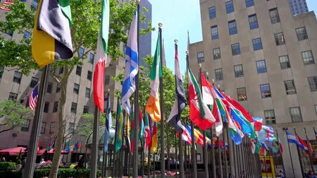midtown : Flags of numerous nations on Rockefellar Plaza in the heart of New York City