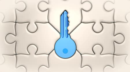 tuşları : Puzzle and key. A key well fitting into a puzzle Stok Video