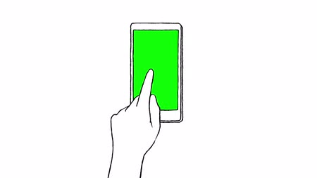 desenhada à mão : Hand drawn touch screen gestures on a smart phone with green screen .   Stock Footage